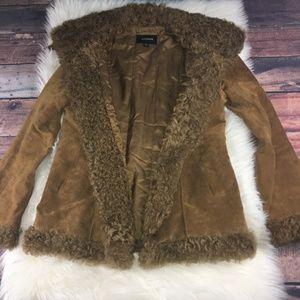 EXPRESS Brown Suede Lambwool Coat M